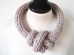 Knit Necklace Beige Fabric jewelry Chic necklace by prettyobject