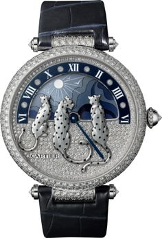 Rêves de Panthères watch Large model, rhodiumized 18K white gold, leather, diamonds