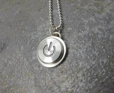 Power Up Silver - Sterling Silver Handmade Recycled MAC Power Button Necklace, gift, anniversary, birthday, wedding