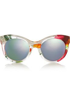 Gucci Cat-eye printed acetate and metal mirrored sunglasses | NET-A-PORTER