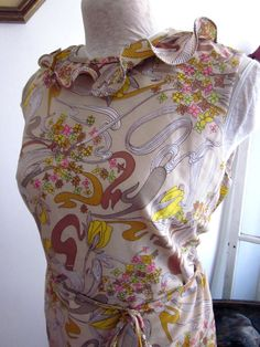 Vintage 1960s Floral Dress  Yellow and Beige by UnderWired on Etsy, $35.00