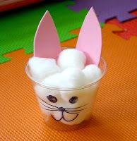 Ask the children to count how many cotton balls it takes to fill up the bunny cup. A good counting exercise and learning center.