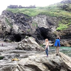 Will and Ny exploring 'the haven' at Tintagel.