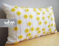 Sukan / Yellow Felt, White Linen Pillow Cover - lumbar pillow cover - Decorative Pillow, Throw Pillow Cover, Accent Pillow - 12x20 pillows. $50.00, via Etsy.
