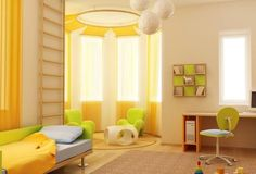 yellow room is very refreshing plus a rounded corner for visiting area