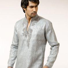 Grey Kurta Pajama With Designer Neckline | $148.87 | http://goodbells.com/mens-kurtas/grey-kurta-pajama-with-designer-neckline.html