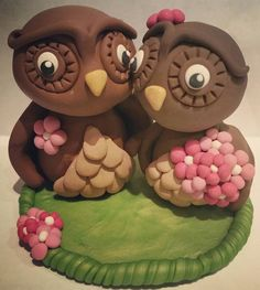 Owl Wedding Cake Topper Set of Owl Bride by claycutiesbymelissa