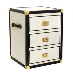 Guinevere Antiques » Linen and Leather Trunk