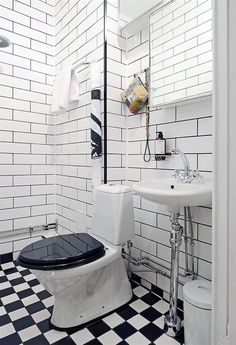 I love this, but I would hate to clean it. Also, weird toilet. Downstairs Bathroom, White Bathroom, Small Bathroom, Half Bathroom Remodel, Bathroom Renovations, Vintage Bathrooms, Bathroom Toilets, Dream Home Design, Wet Rooms