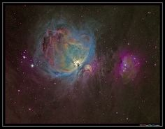 X The Orion nebula is a diffuse nebula situated south of Orion's Belt.