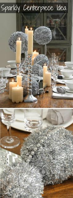 A silver centerpiece idea! This would be good for a NYE party :)
