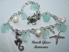 Sterling Silver Sea Glass Bracelet Aqua Sea by BeachGlassMemories, $34.95