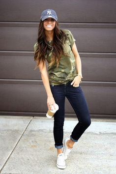 Very cute look - good for moms!  Camo shirt, baseball hat, dark denim & Converse.