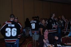 The team mingling with fans.