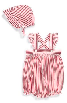 Burberry Stripe Overalls Sun Hat (Baby Girls) | Nordstrom