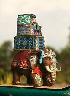Wedding Cake of the Day: Jaipur Elephant. I really really like this cake design. Crazy Cakes, Fancy Cakes, Pink Cakes, Gorgeous Cakes, Pretty Cakes, Cute Cakes, Amazing Cakes, Take The Cake, Love Cake