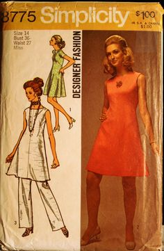 Simplicity 8775 Misses ALine Dress and Pants Vintage by olivealley
