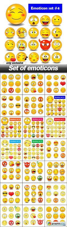 Set of emoticons - 20 EPS
