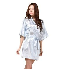 RB032 2017 New Silk Kimono Robe Bathrobe Women Silk Bridesmaid Robes Sexy Navy Blue Robes Satin Robe Ladies Dressing Gowns
