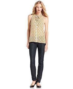 MICHAEL Michael Kors Sleeveless Printed Tie-Neck Top & Skinny Jeans - Womens - Macy's