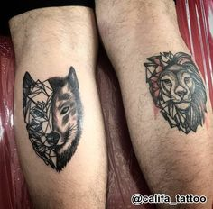 Wolf tattoo Lion tattoo @califa_tattoo