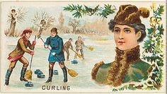 Issued by Goodwin & Company. Curling, from the Games and Sports series (N165) for Old Judge Cigarettes, 1889. The Metropolitan Museum of Art, New York. The Jefferson R. Burdick Collection, Gift of Jefferson R. Burdick (Burdick 214, N165.14) #olympics #curling