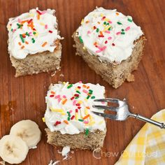 This banana cake with whipped cream cheese frosting is superior in moistness and tenderness. The fluffy frosting is spoon-lickin' great. Easy and delish.