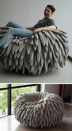 12 Comfy Chairs Perfect For Relaxing In // Feathery fabric falls over the sides of this chair that features a rounded base, turning it into a cozy rocking chair and mimicking the look of a birds nest. Unusual Furniture, Funky Furniture, Classic Furniture, Cheap Furniture, Furniture Design, Furniture Stores, Furniture Ideas, European Furniture, Furniture Websites
