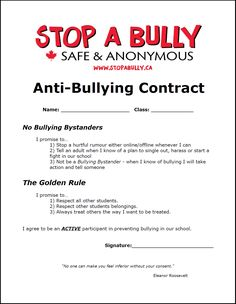 Example of an anti-bullying contract for students.