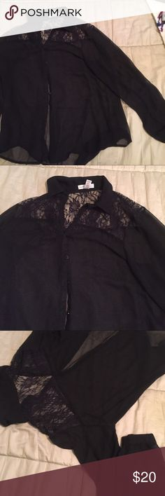 Black blouse Black long sleeve sheer blouse with lace on top back button down collar Ambiance Apparel Tops Button Down Shirts