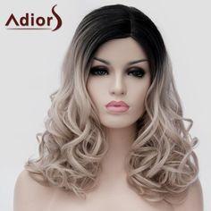 Adiors Black Ombre Ash Blonde Long Synthetic Shaggy Wavy Capless Universal Wig #women, #men, #hats, #watches, #belts, #fashion