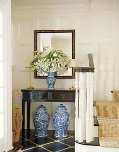 blue and white- foyer
