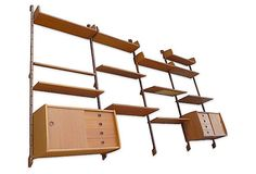 This Wall System has numerous storage and shelving options for all your Mid Century Danish Modern Mid Century Modern Bookcase, Mid Century Modern Furniture, Wall Railing, Modular Walls, Mcm Furniture, Shelving Systems, Mid-century Modern, Danish Modern, Modern Wall