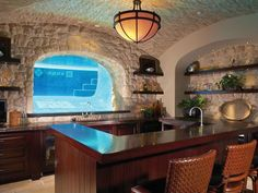 Eclectic Bar with Brick floors & Groin vaulted ceiling in Dana Point, CA | Zillow Digs