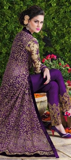452061 Purple and Violet color family Party Wear Salwar Kameez in Net fabric with Lace,Machine Embroidery,Stone,Thread,Zari work .