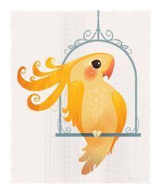Yellow Birdie Mini Print by britsketch on Etsy https://www.etsy.com/listing/62167140/yellow-birdie-mini-print