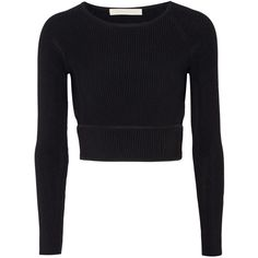 Jonathan Simkhai - Cutout Ribbed Stretch-knit Top found on Polyvore featuring polyvore, women's fashion, clothing, tops, black, cut-out tops, jonathan simkhai, rib top, cutout tops and ribbed top