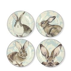 love the peak a boo bunny :)   Damask Easter Bunny Salad Plates, Set of 4 #williamssonoma