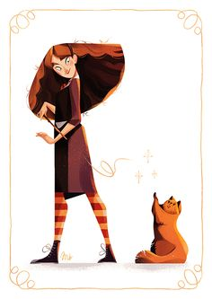 "maud-bihan: "" New illustration for my Harry Potter serie, Hermione and Crookshanks"