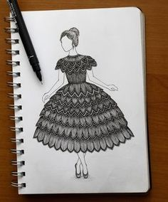 Intricate drawing of a girl dancing wearing a lace frock dress.