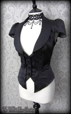 Elegant Gothic Black Satin Rose Waistcoat 14 Steampunk Victorian Vampiress in Clothes, Shoes & Accessories, Women's Clothing, Waistcoats Victorian Steampunk, Victorian Fashion, Gothic Fashion, Dark Fashion, Emo Fashion, Steampunk Clothing, Steampunk Fashion, Gothic Outfits, Gothic Lolita