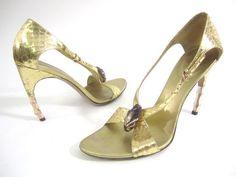 AUTH GUCCI Gold Metallic Snakeskin Curved Bamboo Heel Open Toe Sandals 7.5 B at www.ShopLindasStuff.com