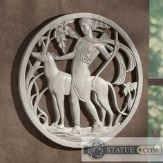 diana the huntress art deco wall frieze sculpturee diana the
