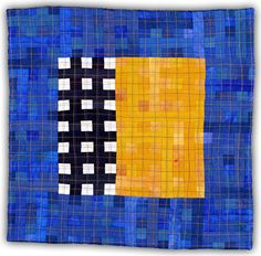 Eleanor McCain ~ Black White Grid with Blue & Yellow (2006) 12 x 12 in. art quilt via eleanormccain.net | Grid Series