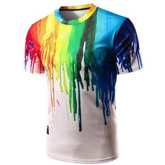 Casual Colorful Painting Pullover T-Shirt For Men ($23) ❤ liked on Polyvore featuring men's fashion, men's clothing, men's shirts, men's t-shirts, mens pullover shirts and colorful mens dress shirts