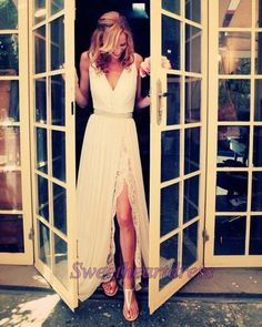 Cute v-neck white lace chiffon prom dress with slit, fashion prom dress for teens #coniefox