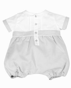Patachou boys white and grey dressy romper with collar. | Le Petit Kids