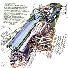 1967 BRM P115- Freehand Drawing by Peter Hutton :: Illustrator