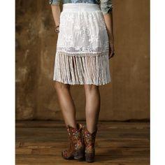 Denim & Supply Ralph Lauren Skirt, Floral-Print Fringe ($125) ❤ liked on Polyvore