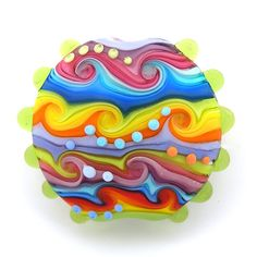 Finding memo colour design with waves (Lampwork bead by michals of Israel -etsy)